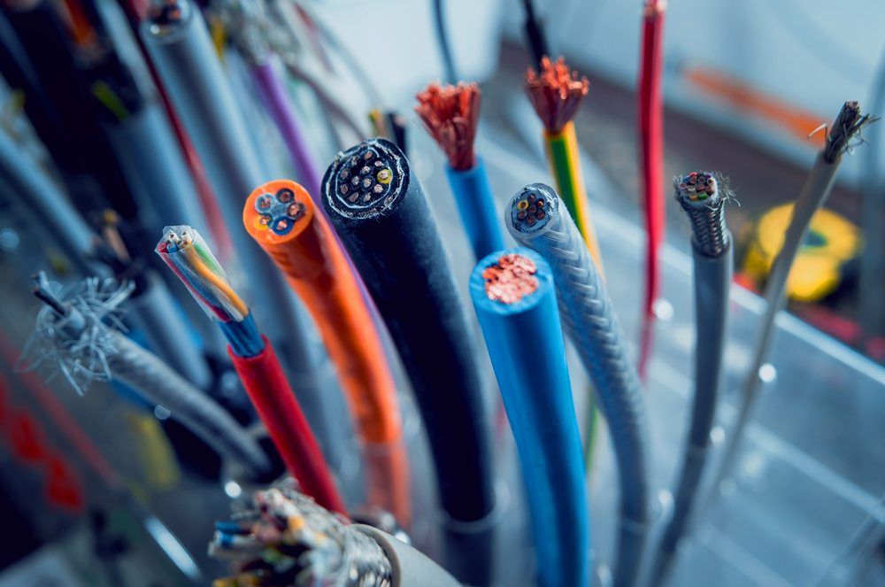 A selection of different electrical cables