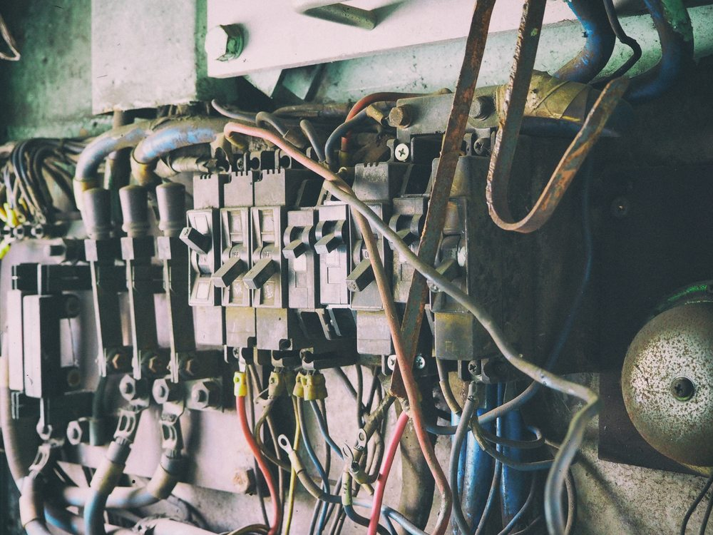 An industrial switchboard